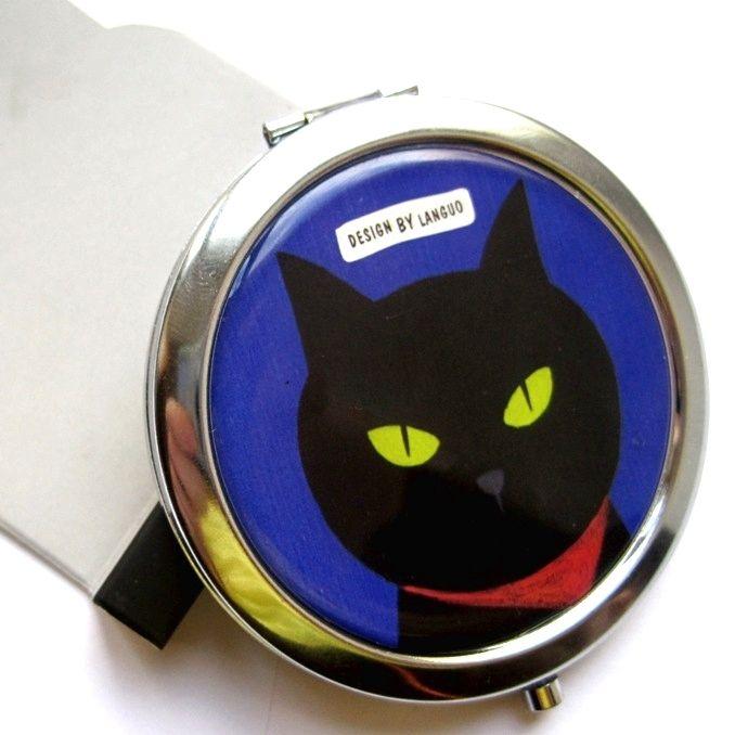 "Двойное карманное зеркало ""Cat Family"" - Deep Blue"