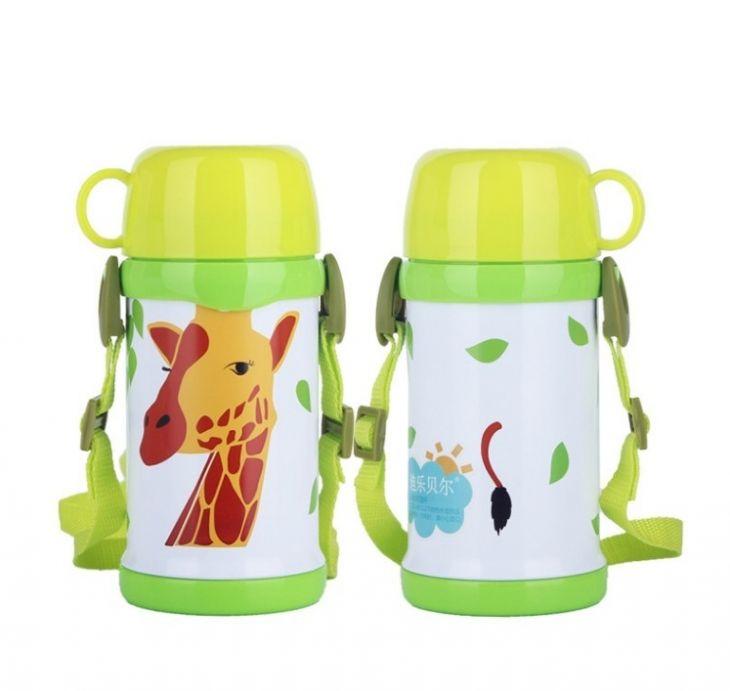 Детский термос с кружкой и ремешком «Giraffe»
