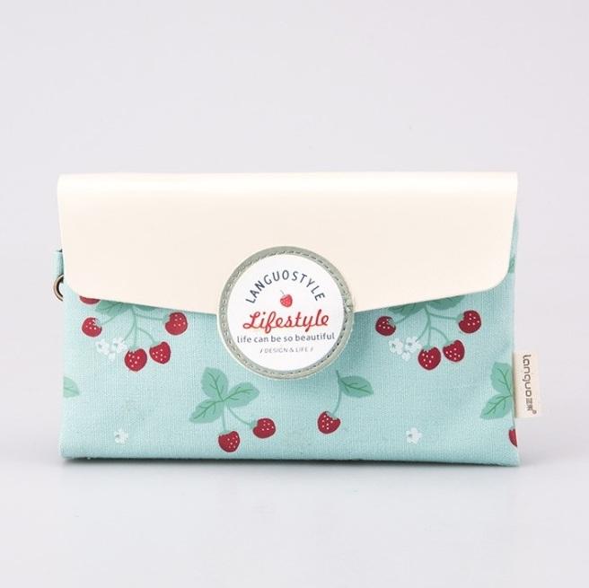 Маленькая косметичка-клатч «Cherries» - Mint